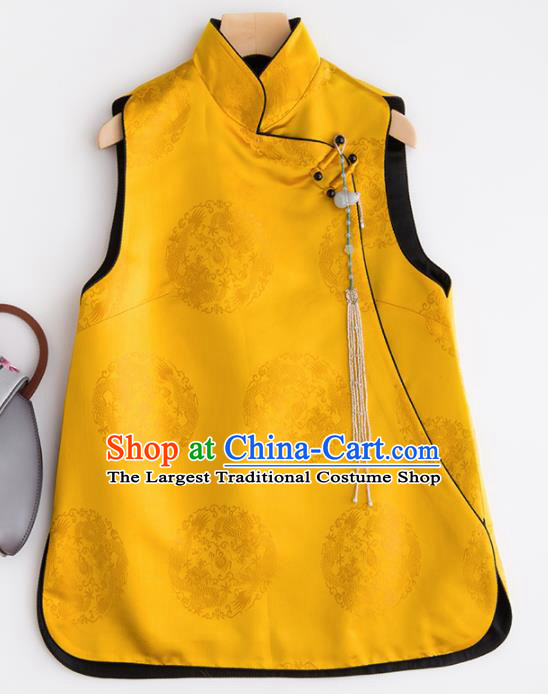 Traditional Chinese National Costume Tang Suit Yellow Brocade Waistcoat for Women