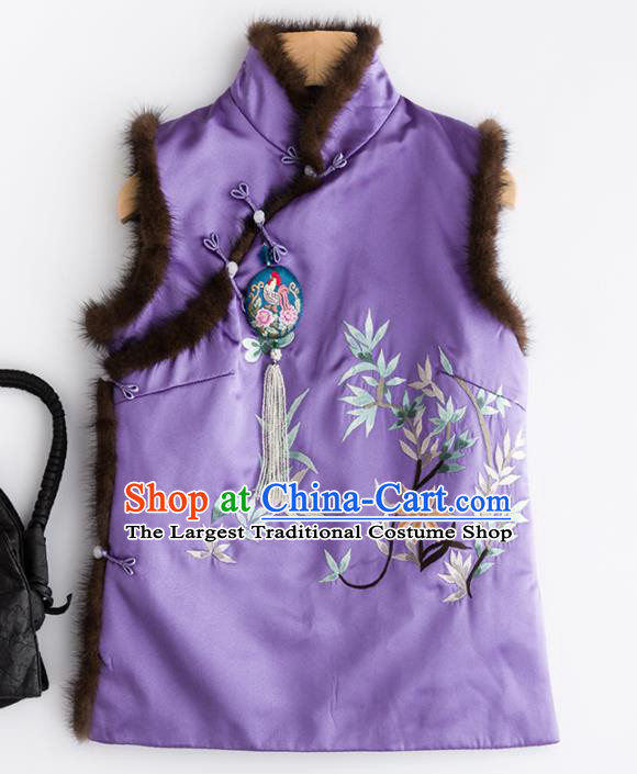 Traditional Chinese National Costume Tang Suit Embroidered Purple Brocade Waistcoat for Women