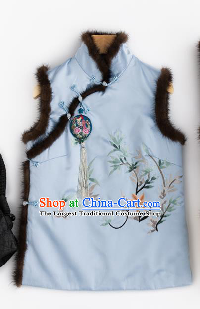 Traditional Chinese National Costume Tang Suit Embroidered Blue Brocade Waistcoat for Women