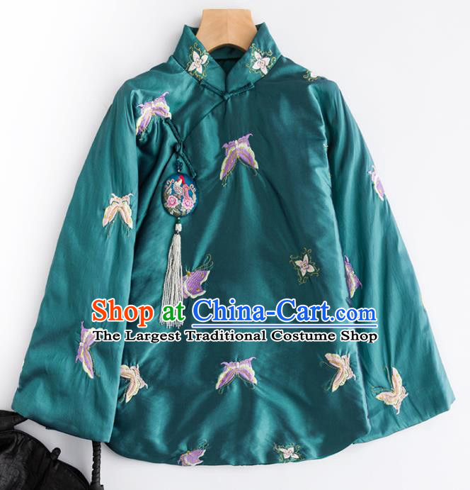 Chinese Traditional Tang Suit Embroidered Butterfly Green Cotton Padded Jacket National Costume Outer Garment for Women