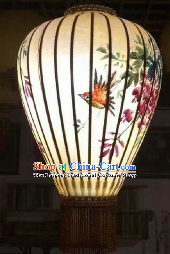 20 Inch Chinese Traditional Handmade Lantern Painting Flowers Birds Palace Lanterns