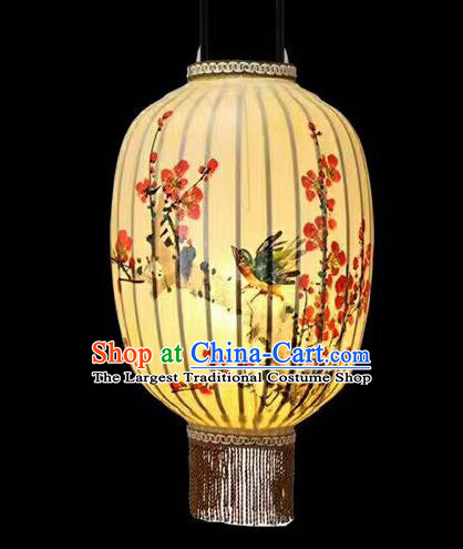 22 Inch Chinese Traditional Handmade Lantern Painting Plum Blossom Bamboo Weaving Palace Lanterns