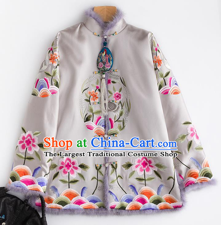 Chinese Traditional Costume National Tang Suit Grey Cotton Padded Jacket Outer Garment for Women