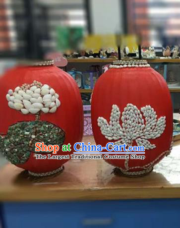 Chinese Traditional New Year Hanging Lantern Handmade Shell Red Palace Lanterns