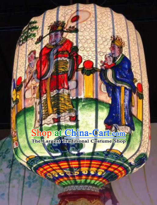 Chinese Traditional New Year Hanging Lantern Handmade Painting God of Wealth Palace Lanterns