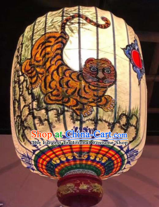 Chinese Traditional New Year Hanging Lantern Handmade Painting Tiger Palace Lanterns