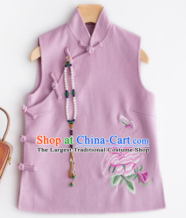 Traditional Chinese National Costume Tang Suit Embroidered Purple Woolen Waistcoat for Women