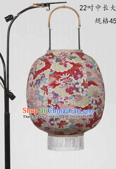 Chinese Traditional New Year Hanging Lantern Handmade Printing Flowers Red Palace Lanterns