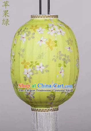 Chinese Traditional Printing Tung Flower Yellow Hanging Lantern Handmade Craft New Year Palace Lanterns