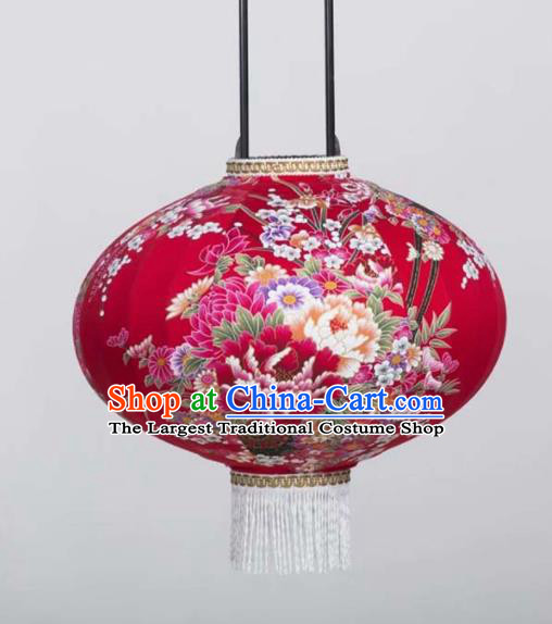 Chinese Traditional Printing Peony Red Round Hanging Lantern Handmade Craft New Year Palace Lanterns