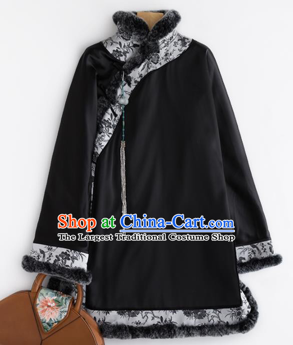 Chinese Traditional Costume National Tang Suit Black Jacket Embroidered Outer Garment for Women