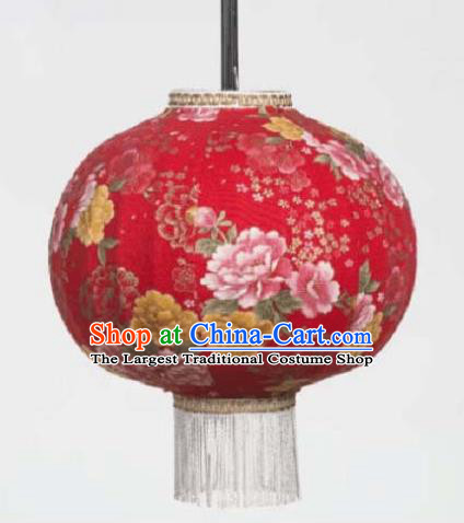 Chinese Traditional Printing Peony Red Hanging Lantern Handmade Craft New Year Palace Lanterns