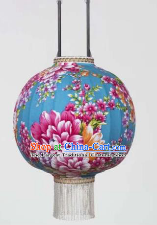 Chinese Traditional Printing Peony Blue Hanging Lantern Handmade Craft New Year Palace Lanterns