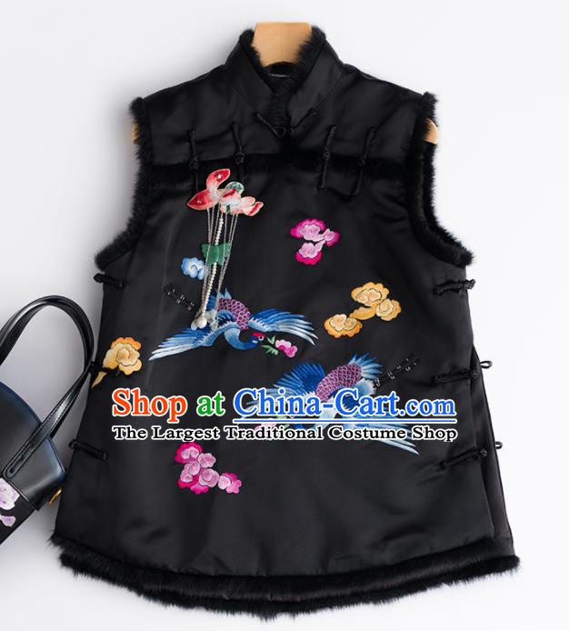 Traditional Chinese National Costume Embroidered Cranes Black Vest Tang Suit Waistcoat for Women