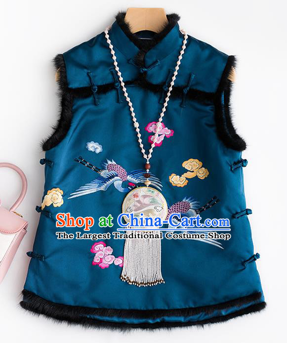 Traditional Chinese National Costume Embroidered Cranes Blue Vest Tang Suit Waistcoat for Women