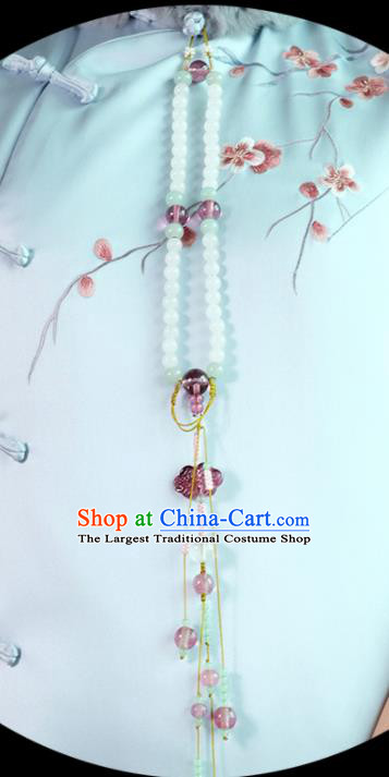 Chinese Traditional Jewelry Accessories Classical Beads Pressure Front Tassel Brooch for Women