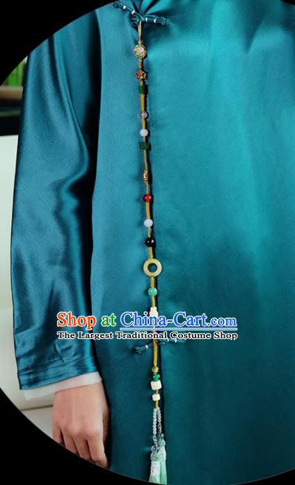 Chinese Traditional Jewelry Accessories Classical Pressure Front Jade Tassel Brooch for Women