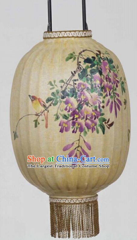Chinese Traditional Ink Painting Wisteria Lantern Handmade New Year Palace Lanterns