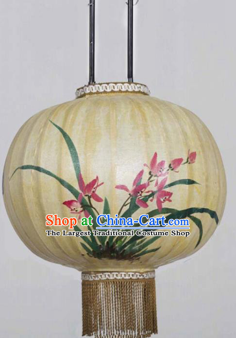 Chinese Traditional Ink Painting Orchid Round Lantern Handmade New Year Palace Lanterns