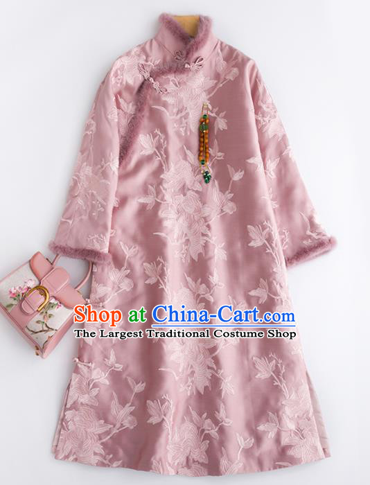 Chinese Traditional National Costume Tang Suit Cheongsam Pink Winter Qipao Dress for Women