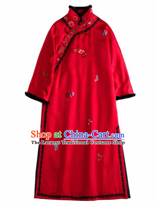 Chinese Traditional Costume National Tang Suit Red Cotton Padded Coat Outer Garment for Women