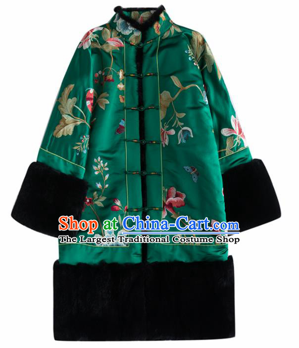 Chinese Traditional Costume National Tang Suit Green Coat Outer Garment for Women