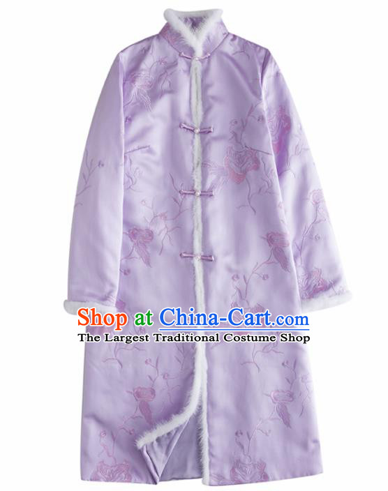 Chinese Traditional Costume National Tang Suit Lilac Coat Outer Garment for Women