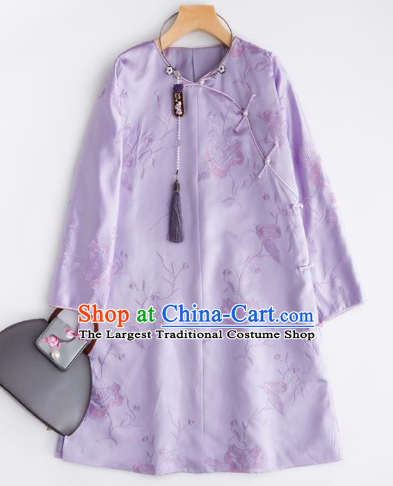 Chinese Traditional National Costume Tang Suit Cheongsam Lilac Silk Qipao Dress for Women