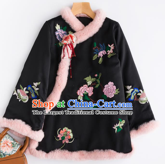 Chinese Traditional Costume National Tang Suit Embroidered Peony Black Cotton Padded Jacket for Women