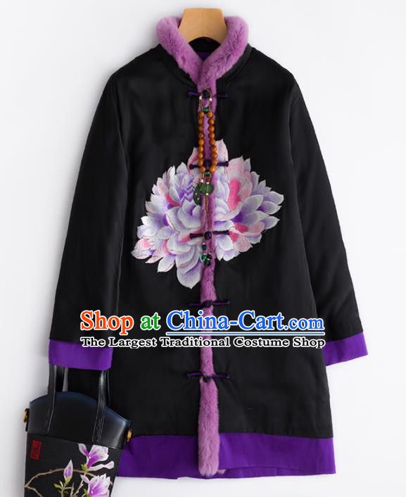 Chinese Traditional Costume National Tang Suit Embroidered Black Cotton Padded Jacket for Women