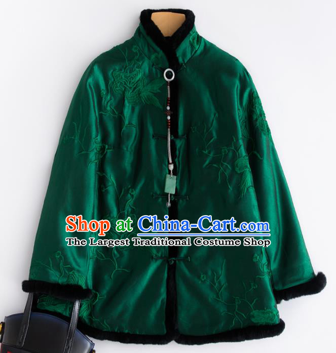 Chinese Traditional National Costume Tang Suit Embroidered Green Cotton Padded Jacket for Women