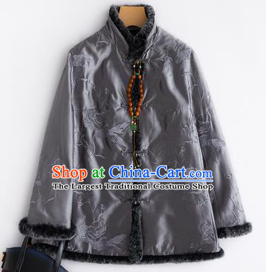 Chinese Traditional National Costume Tang Suit Embroidered Grey Cotton Padded Jacket for Women