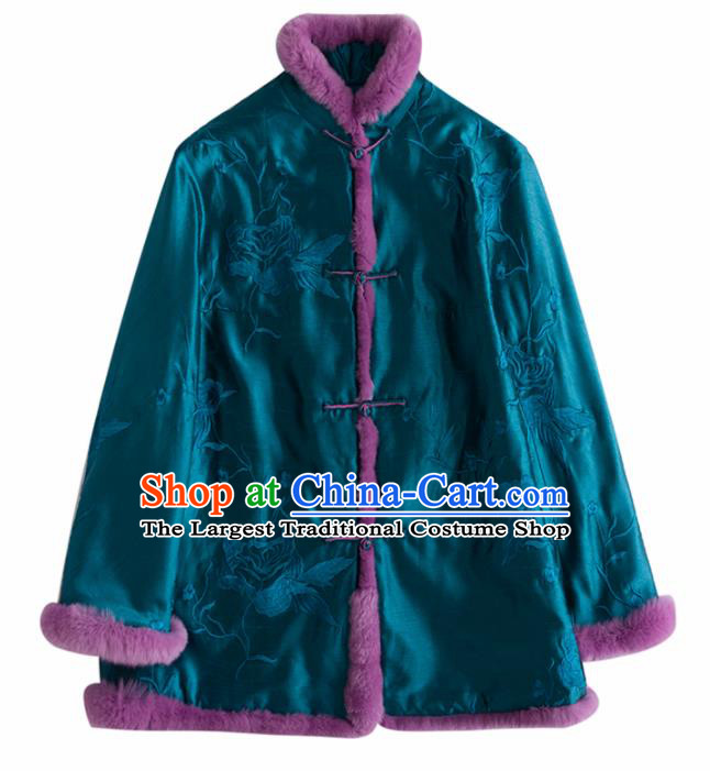 Chinese Traditional National Costume Tang Suit Embroidered Blue Cotton Padded Jacket for Women