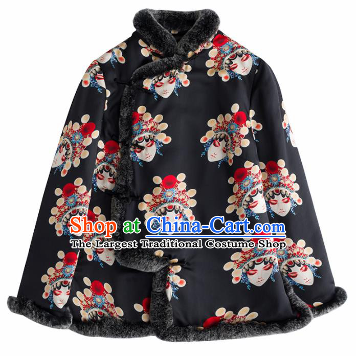 Chinese Traditional National Costume Tang Suit Upper Outer Garment Embroidered Black Blouse for Women
