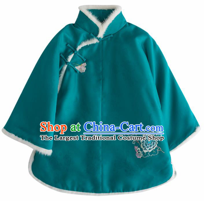Chinese Traditional National Costume Tang Suit Upper Outer Garment Embroidered Green Shirts for Women