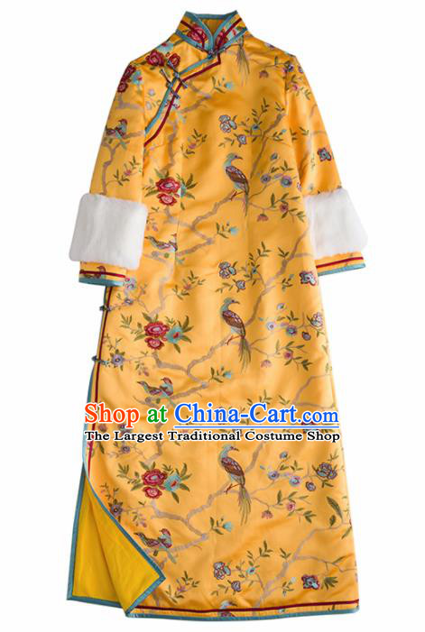Chinese Traditional National Costume Cheongsam Ancient Qing Dynasty Embroidered Yellow Qipao Dress for Women