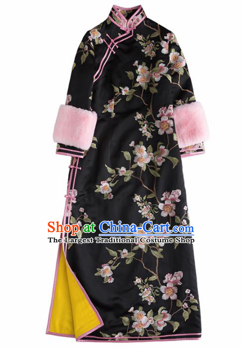 Chinese Traditional National Costume Cheongsam Ancient Qing Dynasty Embroidered Black Qipao Dress for Women