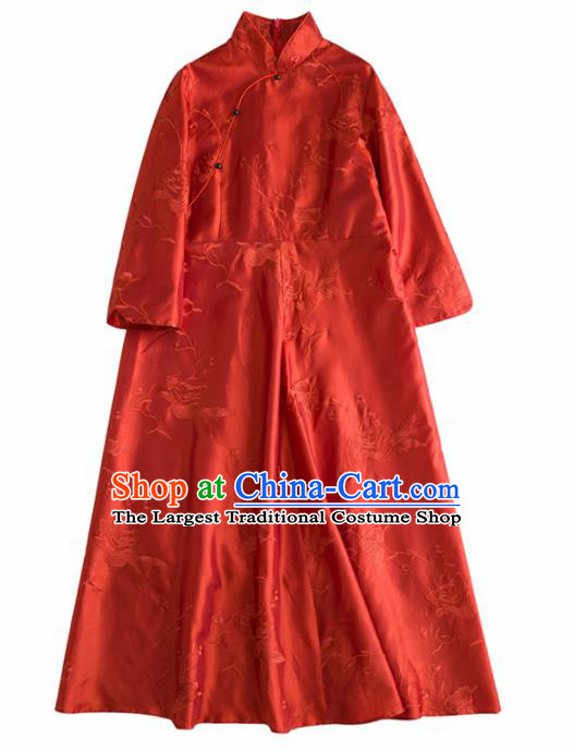 Chinese Traditional Costume National Cheongsam Embroidered Red Silk Qipao Dress for Women
