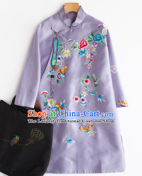 Chinese Traditional National Costume Tang Suit Embroidered Light Purple Coat for Women