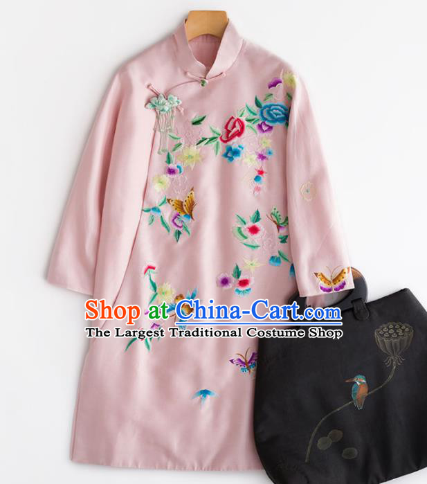 Chinese Traditional National Costume Tang Suit Embroidered Pink Coat for Women