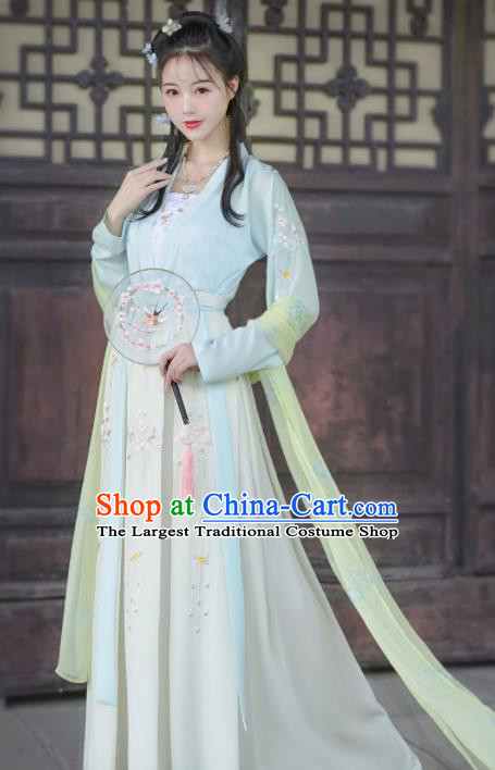 Chinese Ancient Palace Princess Embroidered Traditional Dress Tang Dynasty Historical Costume for Women