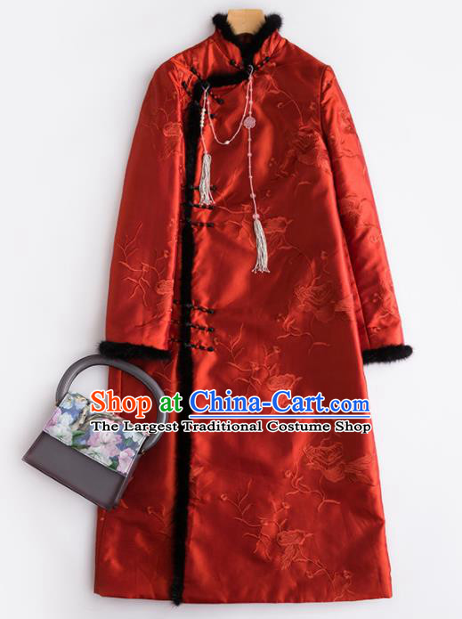 Chinese Traditional National Costume Tang Suit Embroidered Red Cotton Padded Coat for Women