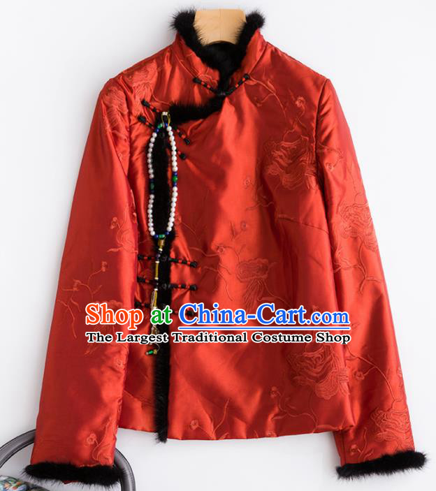 Chinese Traditional National Costume Tang Suit Embroidered Red Cotton Padded Jacket for Women