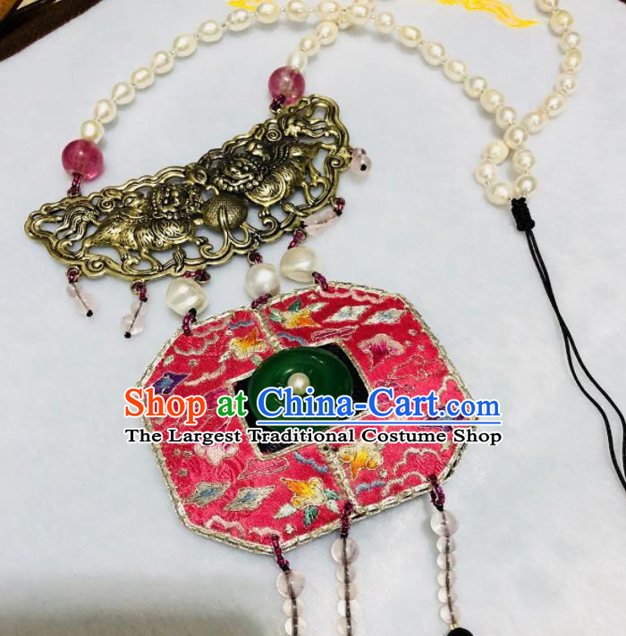Chinese Traditional Jewelry Accessories Classical Embroidered Tassel Jade Necklace for Women