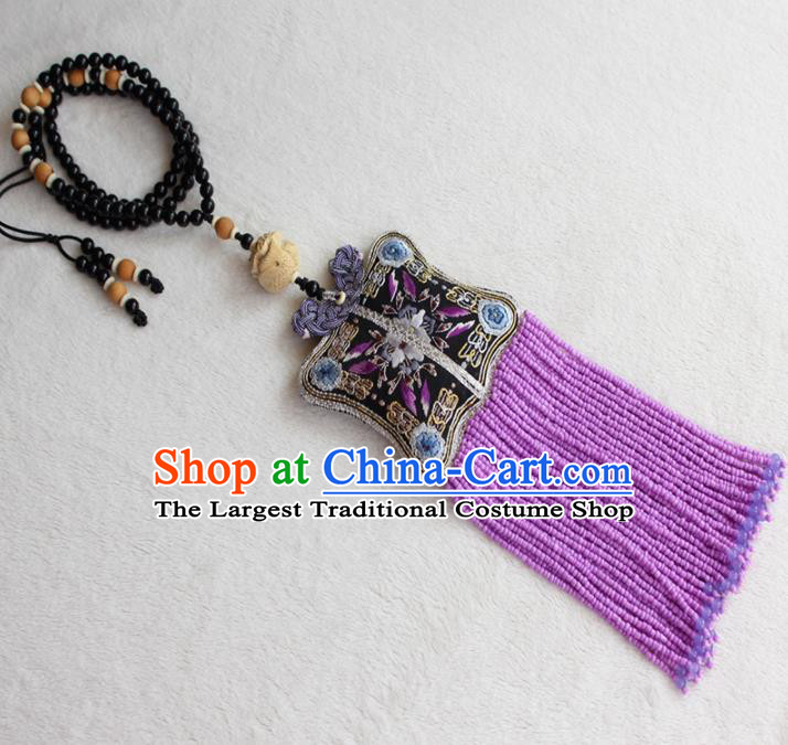 Chinese Traditional Waist Accessories Classical Sachet Embroidered Purple Tassel Pendant for Women