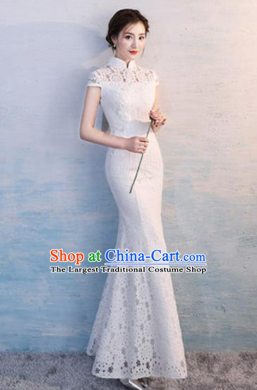 Chinese Traditional National Costume Classical Wedding Cheongsam Embroidered White Lace Full Dress for Women