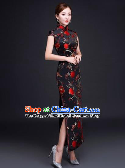 Chinese Traditional National Costume Classical Wedding Cheongsam Red Peony Qipao Dress for Women