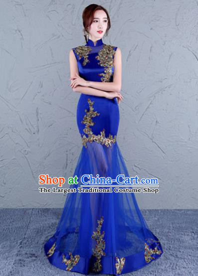 Chinese Traditional National Costume Classical Wedding Cheongsam Royalblue Veil Full Dress for Women