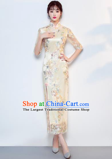 Chinese Traditional National Costume Classical Wedding Cheongsam Yellow Full Dress for Women