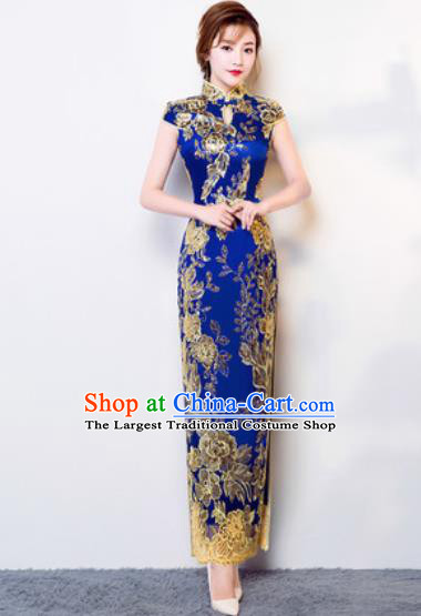 Chinese Traditional National Costume Classical Wedding Cheongsam Royalblue Full Dress for Women